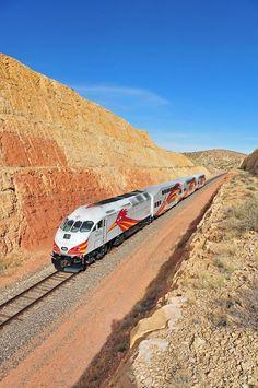 New Mexico Rail Runner Express. This is near Waldo Canyon, south of Santa Fe.
