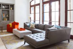New Posting living room design with sectional on this Bdarop Decors Grey And Orange Living Room, Living Room Grey, Living Room Chairs, Living Room Decor, Fresh Living Room, Cozy Living Rooms, Grey Furniture, Living Room Furniture, Space Furniture