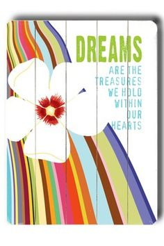Dreams Distressed Wood Wall Plaque