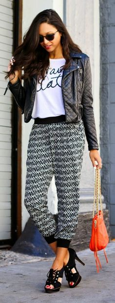 Black And White Geo Print Joggers- - graphic tee- - leather jacket