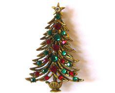 Vintage 50s Hollycraft Gold Jeweled Green & by SanDiegoJewelryShop