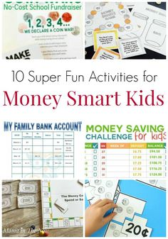 Fun activities for money smart kids. Creative ways to teach financial literacy to kids, tweens and teens. Teach your kids about financial responsibility and the value of money with these fun money activities. Money Activities with Kids Teaching Money, Teaching Kids, Kids Learning, Money Activities, Fun Activities For Kids, Learning Activities, Kids Fun, 52 Week Money Challenge, School Fundraisers
