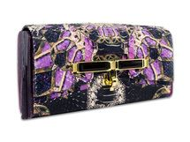 Kara Ross New York Lux box clutch in fire opal burgundy petra print with gold hardware and burgundy stone.