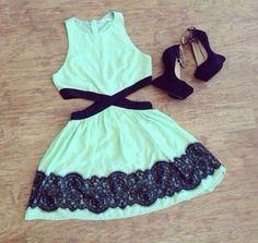shoes high heels black dress prom dress short party dresses fashion clothes outfit style blue black mint cut outs sun dress mint mint green ...