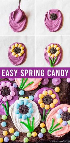 M&M Flowers Easter Candy {Easy Recipe With Oreos and Candy Melts} Create cute, simple candies in minutes with Oreo and M&M flowers with Twizzler stems. This is a cute spring or Easter kids craft that they'll love to share with their family. Easter Candy, Easter Treats, Spring Recipes, Easter Recipes, Easter Arts And Crafts, Kids Crafts, Classroom Halloween Party, Candy Flowers, Candy Crafts