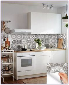 carrelage stickers 24 tile stickers Mexican Talavera style Splashback stickers mixed for walls Kitchen decals bathroom Stair decals Bathroom Tile Stickers, Kitchen Wall Decals, Tile Decals, Wall Tiles, Kitchen Stickers, Knoxhult Ikea, Kitchen Backsplash, Kitchen Cabinets, Backsplash Design