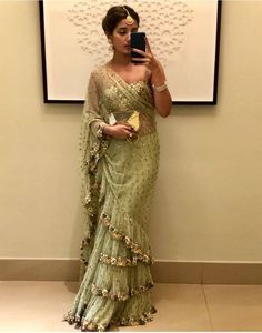 Style Array Present Bollywood Green Color Butterfly Mono Net With Benglory Silk Blouse Branded saree .Buy This Attractive Look Bollywood Green Color Butterfly Mono Net With Benglory Silk Blouse Branded saree Saree Gown, Net Saree, Lehenga Choli, Dhoti Saree, Drape Sarees, Lace Saree, Bollywood Saree, Bollywood Fashion, Bollywood Actress
