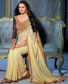 Majestic Cream Saree - Order online @ http://www.yourdesignerwear.com/majestic-cream-saree-p-52291.html