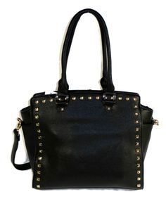 Just the right size for a day of shopping.  Not as small as a cross body, but it can be worn that way.  Designer Inspired Fashion Handbag Purse Satchel Studs 2 Way Black Fall 2014 #DesignerInspired