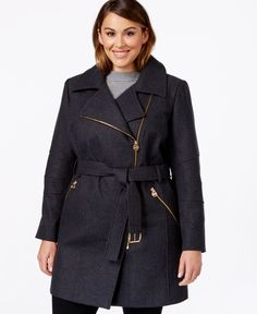 Michael Michael Kors Plus Size Asymmetrical-Zip Belted Coat