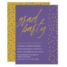 Ultra Violet and Gold confetti Graduation Party Card - graduation party invitations card cards cyo grad celebration