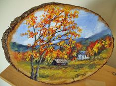 Hand Painted Wood Plaques Autumn Landscape by GiftsbySuzanne