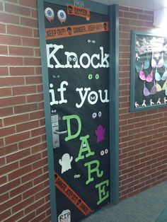 Dorm room door decorating contest for Halloween! You'd be surprised who knocks!!