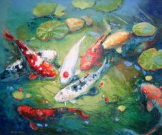 Koi pond/fish art for walls. Perhaps I can paint something like this.