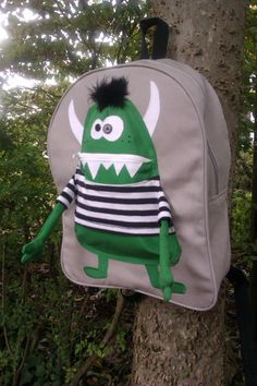 Backpack Green Boy Monster by JAZsSTITCHES on Etsy, $65.00