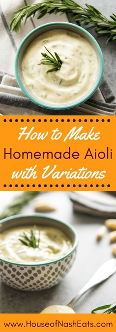Learn how to make homemade aioli with variations that are sure to bring incredible flavor to your favorite sandwiches or burgers, are perfect for dipping fries, chicken tenders & meatballs, and can even be used to marinate meats before grilling! Homemade Aioli, Homemade Sauce, Homemade Marinades For Chicken, Dipping Sauces For Chicken, Homemade Fries, Sauce Recipes, Cooking Recipes, Healthy Recipes, Dip Recipes