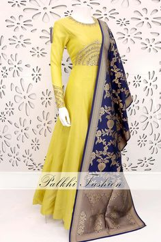 PalkhiFashion Exclusive Full Flair Light Lemon Yellow Silk Outfit with Banarasi Duppata