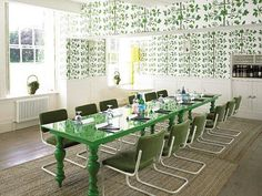 Emerald green dining room by Ilsa Crawford