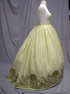 All the Pretty Dresses: 1860's Metallic Embroidered Skirt  Lovely embroidery around the hem,  and I really like that 1860s line of the skirt.