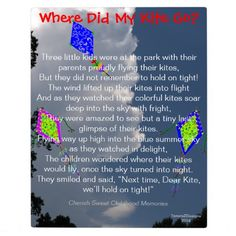 Where Did My Kite Go? - Original Childhood Poem EASEL Plaque, with mixed media including fluffy white clouds against a pretty blue sky & three colorful hand-painted kites with crescent moons and musical notes soaring into the sky.  Visit store to see same Poetry saying against the clouds (without kite images).  Original Photography, Poetry Text Saying and Graphic Art Hand-Painted Digital Design © TamiraZDesigns via:  www.zazzle.com/tamirazdesigns*