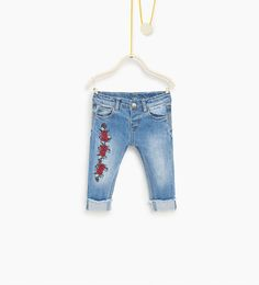 Image 2 of Floral embroidered jeans from Zara