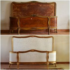 I wanted to add interest to a sommier by adding a headboard. At an auction, found this antique pair of headboard and footboard, French Style…