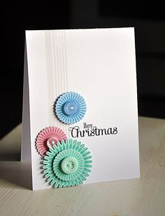 PTI Snowflake Flurries stamp set with the die cut and heat embossed snowflake medallions... This card could be used for any occasion with different sentiments.