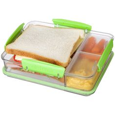 Sistema Green Snack Attack Duo To-Go Container ($7.99) ❤ liked on Polyvore featuring home, kitchen & dining, food storage containers, food, green food storage containers, lunch container, food container, bpa free food storage containers and freezer container