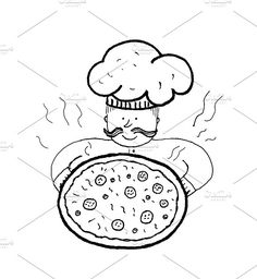 Chef with pizza Graphics Chef with pizza, hand drawn ink. Vector illustration. by Irene Loal
