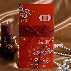 cerise invitation de mariage de fleur avec archet rouge (jeu de 50) – EUR € 41.24