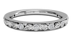Women's Hand-Carved Grecian Diamond Wedding Ring - in Palladium - (0.09 CTW)