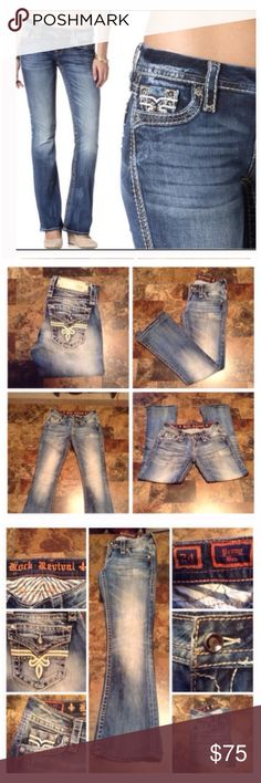 """Rock Revival Penny Boot Jeans First pic of model wearing this style of Jeans. Last 2 pics are of actual item/color. Waist 24. Model #RE82588R. Penny Boot design. Made of 98% Cotton and 2% Elastane. Length """"35. (Had Hemmed). Rise """"8.5. Inseam """"27. Laying flat """"12. These Jeans are not new, they are used in Great condition with no stains or tears. Non smoking, pet free home. Rock Revival Jeans Boot Cut"""