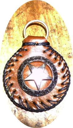 SALE brown round cowboy leather key ring fob by  by g2poriginals, $5.99