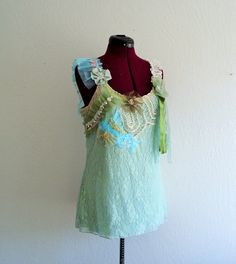 Romantic Bohemian Lace Top.  Ethical Fashion by KheGreen on Etsy