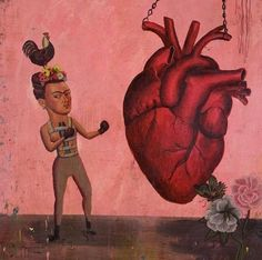 Frida Kahlo. So many levels of symbols. She fights her heart (her art) her heart muscle