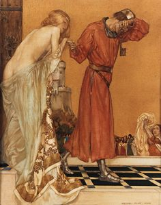 Sir William Russell Flint Book XI Chapter I Then the people brought her clothes. And when she was arrayed, Sir Launcelot thought she was the fairest Lady of the world, but if it were Queen Guenever