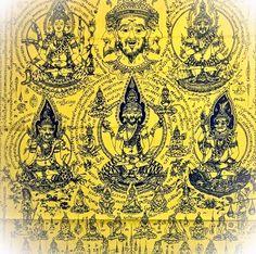 Pha Yant Por Phu Ruesi Jakkapat Navagote Maha Baramee Phu Rasi 108 Lersi Hermits Yantra Cloth 7 Feet High - Luang Phu Nong Tammachodto, $ 99.00