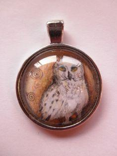 Anhänger Schneeeule Handzeichnnug von FrauRabe auf DaWanda.com Flask, Coin Purse, Snow, Owls, Coin Purses, Purse