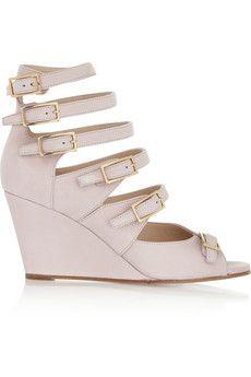 Chloé Matte-leather wedge sandals | NET-A-PORTER