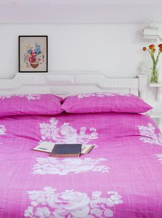 hot pink rose bedding by one of my favorite designers, Lisa Stickley.