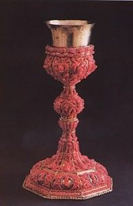 Chalice of Silver and gilded copper decoarted with corals  --  from Museo Pepoli Trapani - Sicily, Italy.