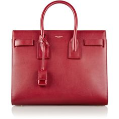 Saint Laurent Sac De Jour small leather tote ($1,765) ❤ liked on Polyvore featuring bags, handbags, tote bags, totes, handbags totes, red leather purse, red tote, leather purse and leather man bag