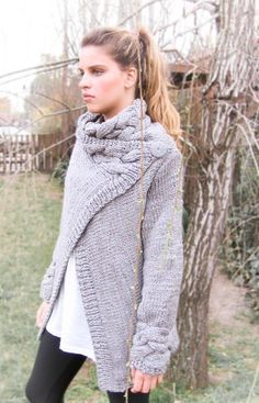 hand knit cardigan RIONA coat warm grey cowl neck braid cables wool. $155.00, via Etsy.
