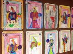 CARTES de jeu géantes. Reine et Roi. Collages et coloriage