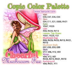 New Digital Stamps: Lots O' Love Gabbie & Cheerful Mushroom Fae Copic Color Chart, Copic Colors, Alcohol Markers, Copic Markers, Spectrum Noir Markers, Color Of The Day, O Love, Colouring Techniques, Marker Art