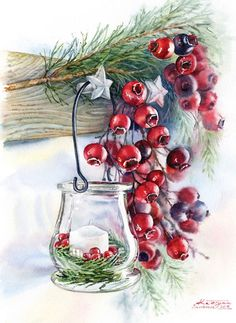 Watercolor illustrations for Christmas cards - winter glass candlelight with traditional red berries. Commercial aquarelle illustrations by Kateryna Savchenko Christmas Berries, Diy Christmas Garland, Christmas Scenes, Christmas Pictures, Christmas Art, Christmas Decorations, Xmas, Watercolor Christmas Cards, Christmas Drawing