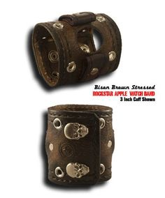 Bison Brown Stressed Rockstar Apple Leather Cuff Watch Band with Double Stitching & Snaps