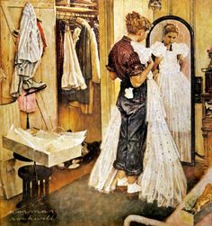"""Love his work. The late Norman Rockwell. Norman Rockwell painting Norman Rockwell - I love his artwork! """"Dress"""" by Norman Rockwell, date unknown ・ Style: Regionalism ・ Genre: genre painting Norman Rockwell Prints, Norman Rockwell Paintings, Peintures Norman Rockwell, Illustrations, Illustration Art, Grand Art, Creation Art, The Saturdays, American Artists"""