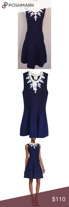 Kate Spade $110 OBO NWT Jeweled Dehlilah Dress Jewel neckline.  Sleeveless.  A-line silhouette; ribbed hem.  Pullover style.   Style #NJMU3403 French Navy & White  59% Cotton, 21% Viscose,  14% Polyamide, 6% Cashmere   Unlined.  Dry clean or machine wash cold.   Imported. kate spade Dresses