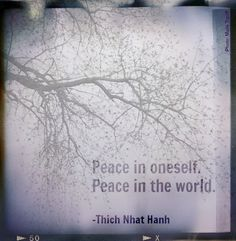 Peace in oneself.  Peace in the world.  -Thich Nhat Hanh